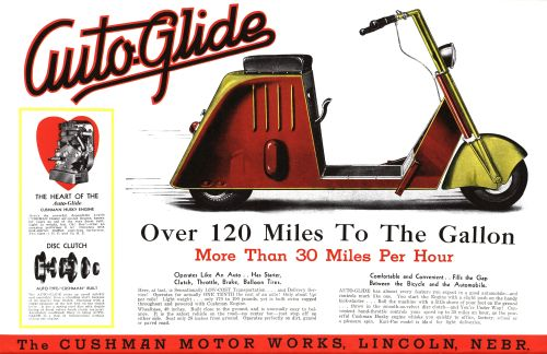Early ad for the Cushman AutoGlide Scooter
